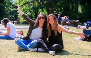 Maria Gallerdo originally from Spain but now living in Dundrum and Laura Gonzalez originally from Spain but now living in the city centre enjoying the good weather in Stephens Green,Dublin. Photo: Gareth Chaney Collins