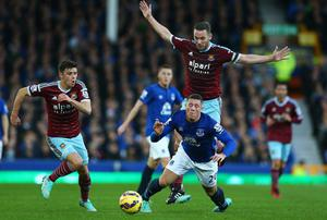 Ross Barkley goes down despite no contact being made by Kevin Nolan during Everton's Premier League win over West ham United. Photo: Matthew Lewis/Getty Images