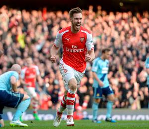 Arsenal's Aaron Ramsey celebrates scoring his side's second goal against West Ham