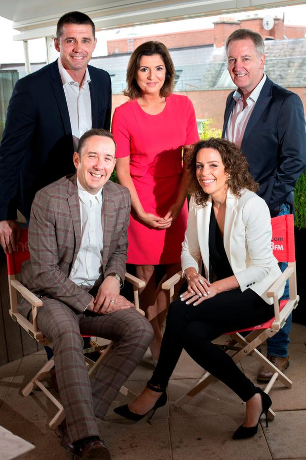 Shane Coleman, Alan Quinlan, Colette Fitzpatrick, Sarah McInerney and Paul Williams at the Newstalk autumn launch in Sophie's rooftop terrace.