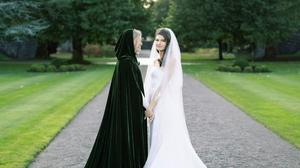 GLAMOUR: Alice Delahunt (left) with Reese Lasher during their wedding at Ashford Castle. Photos: James x Schulze