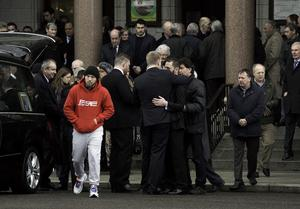 Mourners at the funeral mass of Cathal Sweeney at the Church of St. Paul of the Cross, Mount Argus, Dublin. Photo: Gareth Chaney Collins