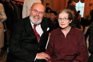 16/4/13 Senator David Norris and Geraldine Mangan, former secretary of English Department at Trinity at the book launch/birthday party for Brendan Kennelly in the Shelbourne Hotel, Dublin. Picture:Arthur Carron/Collins