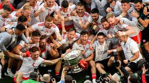 Tyrone players celebrate after beating Mayo in the All-Ireland final. Photo by Daire Brennan/Sportsfile