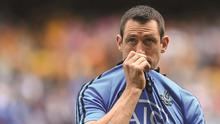 31 August 2014; A dejected Denis Bastick, Dublin, following his side's defeat. GAA Football All Ireland Senior Championship, Semi-Final, Dublin v Donegal, Croke Park, Dublin. Picture credit: Stephen McCarthy / SPORTSFILE