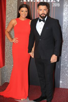 Shayne Ward and Sophie Austin on the red carpet at the British Soap Awards (Lindsey Parnaby/PA)