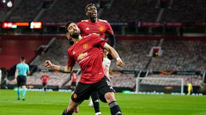 Manchester United's Bruno Fernandes celebrates after scoring his side's fourth goal during the Europa League semi final. (AP Photo/Jon Super)