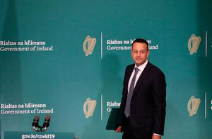 Crisis: Leo Varadkar at the launch of a public information booklet on coronavirus at Government Buildings. Photo: Nick Bradshaw/PA