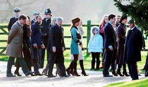 The Duchess of Cambridge (right) arrives at with Carole Middleton (second left), James Middleton (third left), Michael Middleton (fourth left) and Pippa Middleton (fifth left)  St. Mary Magdalene Church in Sandringham, Norfolk, to attend morning church service.  Picture: Chris Radburn/PA Wire