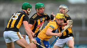 Rory Hayes of Clare in action against Eoin Cody, left, Alan Murphy, centre, and TJ Reid of Kilkenny