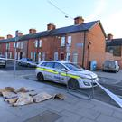 Gardai have sealed off the scene where the woman went into labour on the corner of Linenhall Street and North King Street Photo: Gerry Mooney