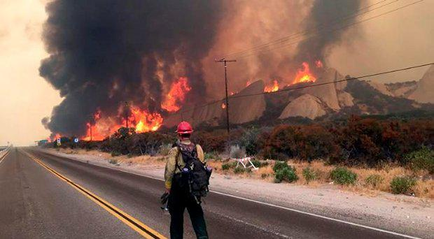 A firefighter monitors the Blue Cut fire along Highway 138, near the Cajon Pass Credit: Los Angeles Times via Getty Images
