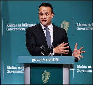 Controls: Leo Varadkar announced the lockdown measures on March 27. Picture: Steve Humphreys