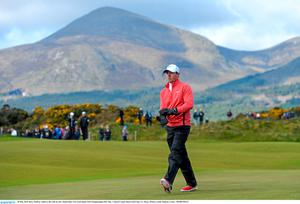 28 May 2015; Rory McIlroy walks to the 14th tee box. Dubai Duty Free Irish Open Golf Championship 2015, Day 1. Royal County Down Golf Club, Co. Down. Picture credit: Ramsey Cardy / SPORTSFILE