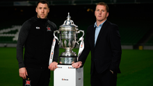 Dundalk defender Brian Gartland and head coach Vinny Perth with the FAI Cup at the Aviva Stadium ahead of Sunday's final showdown with Shamrock Rovers. Photo: Harry Murphy/Sportsfile