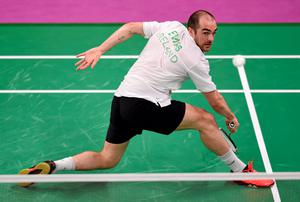 Scott Evans on his way to victory over Georgios Charalambidis of Greece in the badminton singles at the European Games in Baku yesterday.