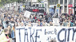 The Take the City Back protest marches along O'Connell Street last autumn. Photo: Tony Gavin