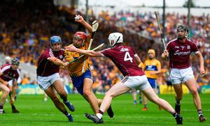 Peter Duggan attempts to make his way through the massed ranks of Galway's defence during the 2018 All-Ireland SHC semi-final. Photo: Ramsey Cardy/Sportsfile