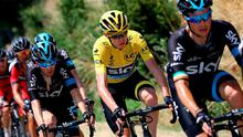 Team Sky's Nicolas Roche leads the yellow jersey of Chris Froome during yesterday's Stage 13 of the Tour de France