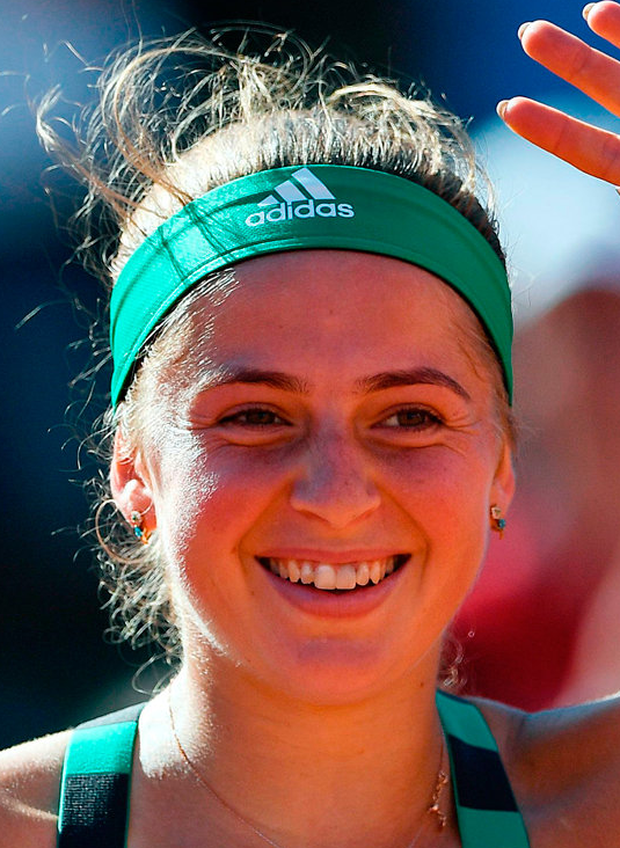 Latvia's Jelena Ostapenko celebrates after winning against Switzerland's Timea Bacsinszky during their semi-final match at the Roland Garros 2017 French Open. Photo: Getty Images