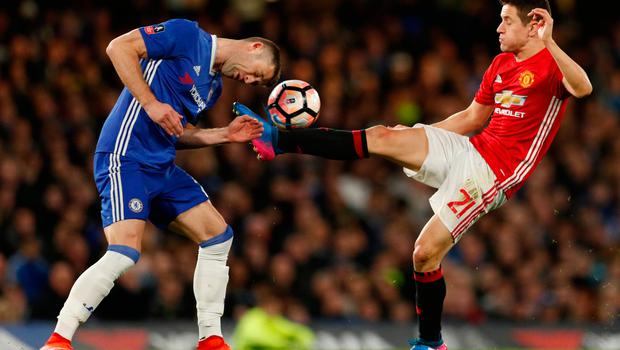 Manchester United's Ander Herrera in action with Chelsea's Gary Cahill