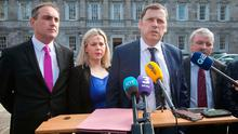 Fianna Fáil deputies Marc MacSharry TD, Senator Lorraine Clifford, Lee Barry Cowen TD, and Willie O'Dea TD, during a press briefing on the plinth of Leinster House, on recommendations laid down by the Oireachtas Water Committee. Photo: Gareth Chaney Collins