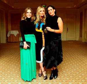 (l to r): Amy Huberman, Laura Whitmore and Shelly Corkery at the Brown Thomas / ISPCC charity luncheon.. Photograph: Leon Farrell / Photocall Ireland