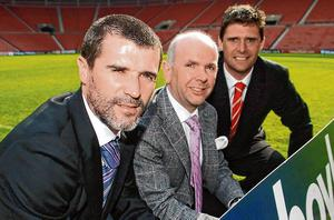 MEMORY LANE: Roy Keane, then Sunderland manager, and Niall Quinn, then club chairman, flank Boylesports' then managing director John Boyle at a club sponsorship announcement in April 2007. Photo: Brian Lawless / SPORTSFILE
