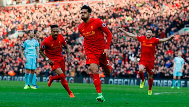 Emre Can celebrates scoring Liverpool's winning goal. Photo: Reuters / Phil Noble