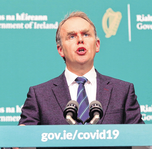 Exam issue: Education Minister Joe McHugh during a briefing where he announced the Leaving Cert would be postponed. Photo: Leon Farrell/PA