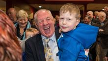 Happy: The vote-getting performance of Michael Ring – seen here with grandson Ben Bourke at the count centre in Castlebar – was one of the few bright moments for Fine Gael.  Photo: Keith Heneghan