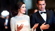 "British actress Rachel Weisz (L) talks with Irish actor Colin Farrell as they arrive for the screening of the film ""The Lobster"" at the 68th Cannes Film Festival"