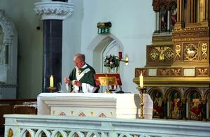 Canon Toby Bluett celebrating Mass in the Church of the Immaculate Conception, Kanturk, on July 5th, the first Sunday Masses were open to the public since March. Photos: Sheila Fitzgerald