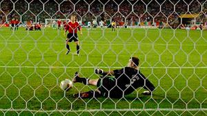 Game of millimetres: Gaizka Mendieta's penalty somehow squirms past Shay Given to eliminate Ireland from the 2002 World Cup. Photo: David Maher/SPORTSFILE