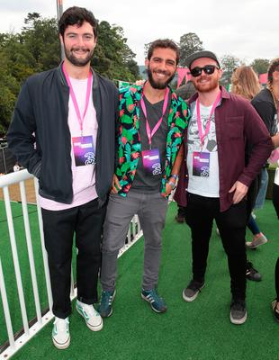 James Rogers, Pablo Santo and Rob Smyth at Three's #MadeByMusic base at Longitude. Over the weekend a line-up of top Irish DJ collectives celebrated connections 'Made By Music'.  Picture: Brian McEvoy No Repro fee for one use