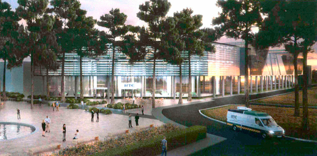 An artist's impression of the new development, which includes a public plaza beside a new RTÉ building