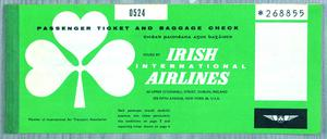An original ticket for Aer Lingus's (then Aer Línte) early transatlantic flights. Flights departed Dublin and flew via Newfoundland to JFK Airport in New York. They first departed in 1958.
