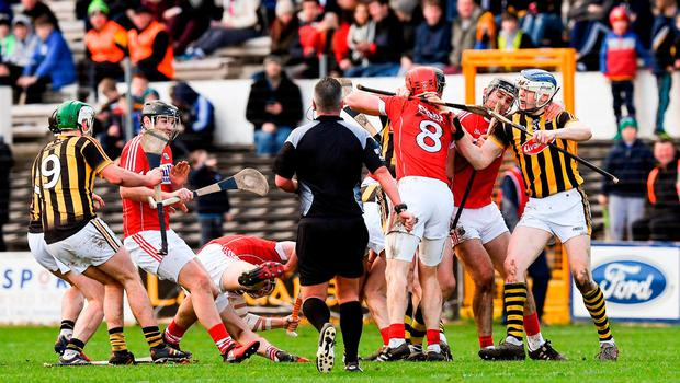Players from both sides tussle during the second half of the Allianz Hurling League Division 1A Round 3 match between Kilkenny and Cork at Nowlan Park in Kilkenny. Photo by Ray McManus/Sportsfile