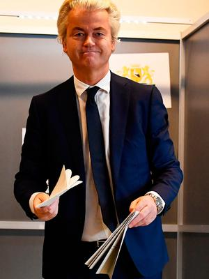Dutch far-right politician Geert Wilders of the PVV party votes in the general election in The Hague, Netherlands. Photo: Reuters