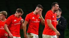 Munster players (l-r) Craig Casey, Rory Scannell, Shane Daly and Tadhg Beirne following defeat by Leinster in the Guinness PRO14 semi-final at the Aviva Stadium last September. Photo: Ramsey Cardy/Sportsfile
