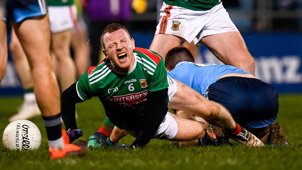 Agony: Mayo's Colm Boyle grimaces after suffering a knee injury during Saturday's defeat to Dublin in Elverys MacHale Park, Castlebar. Photo by Harry Murphy/Sportsfile