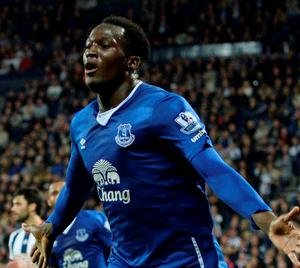 Everton's Romelu Lukaku celebrates scoring their third goal against West Brom