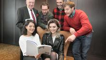 Actors, Sarah Green, left and Tara Lee, with back row Bill O'Herlihy, Chairman of the Irish Film Board, John Carney, Director, Mark O'Halloran, actor and screenwriter and Peter Coonan, Actor. Picture: Damien Eagers  14/1/2015