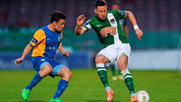 12 June 2015; Billy Dennehy, Cork City, in action against David Cassidy, Bray Wanderers. SSE Airtricity League Premier Division, Cork City v Bray Wanderers, Turners Cross, Cork.