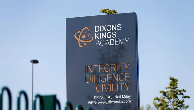 A sign outside Dixons Kings Academy in Bradford. A 14-year-old boy is being hunted by police after a teacher was stabbed at the school. PRESS ASSOCIATION Photo. Picture date: Thursday June 11, 2015. The 50-year-old male teacher was taken to hospital for treatment to a stab wound to his body. See PA story POLICE School. Photo credit should read: Lynne Cameron/PA Wire