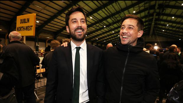 Eoghan Murphy celebrates holding onto his seat alongside his actor brother Killian Scott at the RDS. Pic Steve Humphreys 10th February 2020