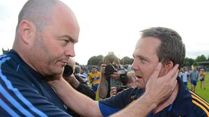 Anthony Daly congratulates Davy Fitzgerald after Clare's win over Dublin in 2012. Ray McManus / SPORTSFILE