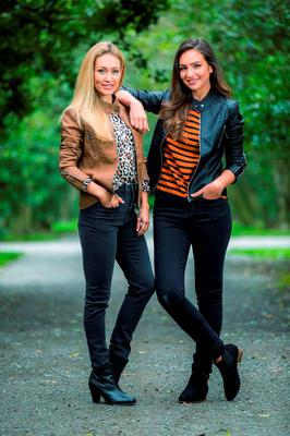 Pictured at the launch of Lidl's Esmara Autumn/Winter collection are Maeve Madden and Shauna Lindsay modelling new season pieces, including faux leather jackets for €14.99 and shift tops for €7.99