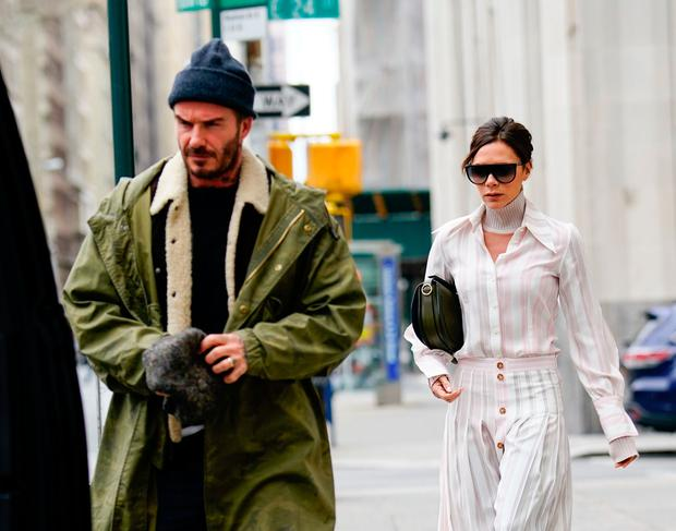 David Beckham and Victoria Beckcham head out for brunch on March 4, 2018 in New York City. (Photo by Gotham/GC Images)