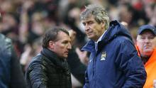 Liverpool manager Brendan Rodgers shakes hands with Manchester City manager Manuel Pellegrini